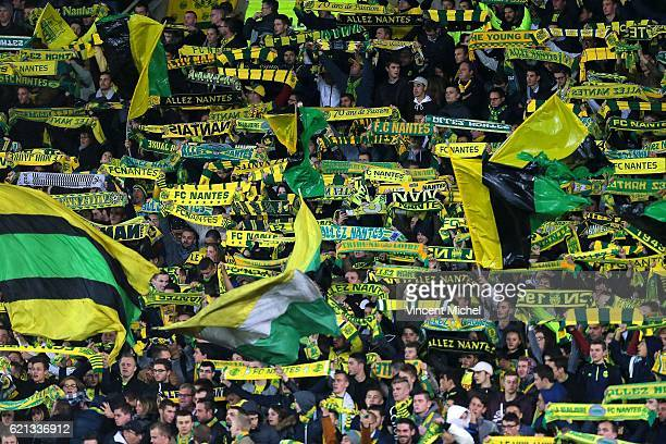 Fans of Nantes during the Ligue 1 match between Fc Nantes and Toulouse Fc at Stade de la Beaujoire on November 5 2016 in Nantes France