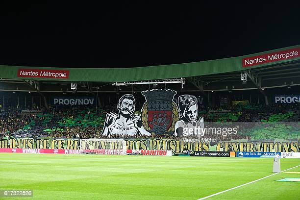 Fans of Nantes during the Ligue 1 match between FC Nantes and Stade Rennais at Stade de la Beaujoire on October 22 2016 in Nantes France