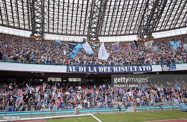 Fans of Napoli during the Serie A match between SSC Napoli and ACF Fiorentina at Stadio San Paolo on October 18 2015 in Naples Italy