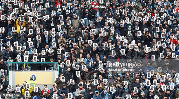Fans of Napoli during the Serie A match between SSC Napoli and Carpi FC at Stadio San Paolo on February 7 2016 in Naples Italy