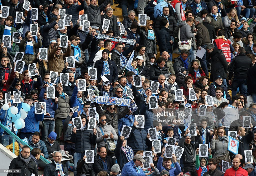 Fans of Napoli show images of Kalidou Koulibaly during the Serie A match between SSC Napoli and Carpi FC at Stadio San Paolo on February 7, 2016 in Naples, Italy.