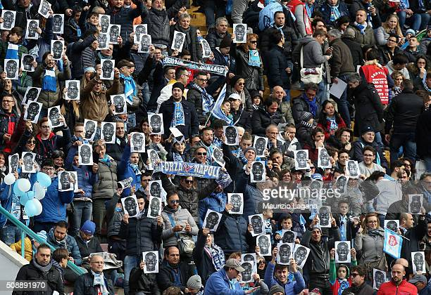 Fans of Napoli show images of Kalidou Koulibaly during the Serie A match between SSC Napoli and Carpi FC at Stadio San Paolo on February 7 2016 in...