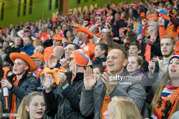 Fans of Netherland during the FIFA 2018 World Cup Qualifier between Netherland and Norway at Noordlease Stadion on October 24 2017 in Groningen
