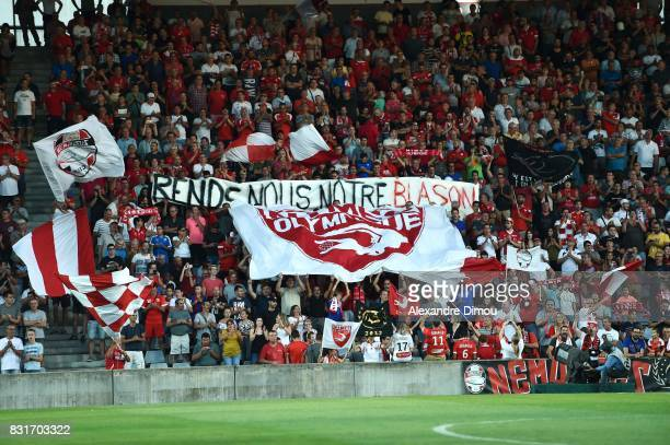 Fans of Nimes during the Ligue 2 match between Nimes Olympique and As Nancy Lorraine at Stade des Costieres on August 14 2017 in Nimes