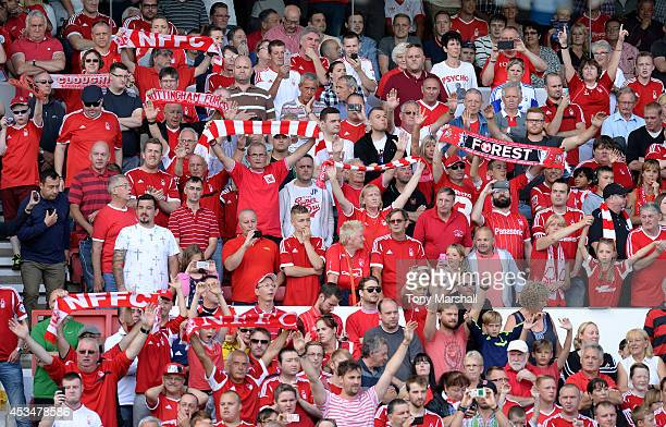 Fans of Nottingham Forest show their support team during the Sky Bet Championship match between Nottingham Forest and Blackpool at City Ground on...