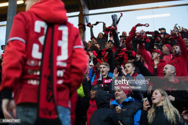 Fans of Oestersunds FK during the UEFA Europa League Qualifying PlayOffs round second leg match between Oestersunds FK and PAOK Saloniki at Jamtkraft...