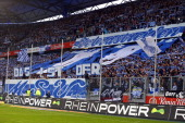 Fans of of Duisburg show a choreography prior to the Second Bundesliga match between MSV Duisburg and 1 FC Koeln at SchauinslandReisenArena on April...