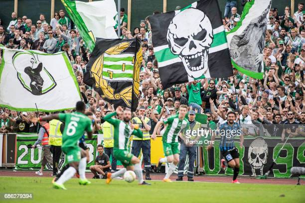 Fans of of Hammarby IF during the Allsvenskan match between IK Sirius FK and Hammarby IF at Studenternas IP on May 21 2017 in Uppsala Sweden