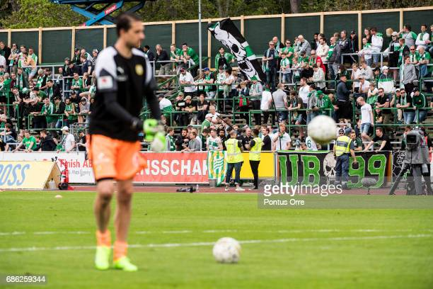 Fans of of Hammarby IF during the warmup prior to the Allsvenskan match between IK Sirius FK and Hammarby IF at Studenternas IP on May 21 2017 in...