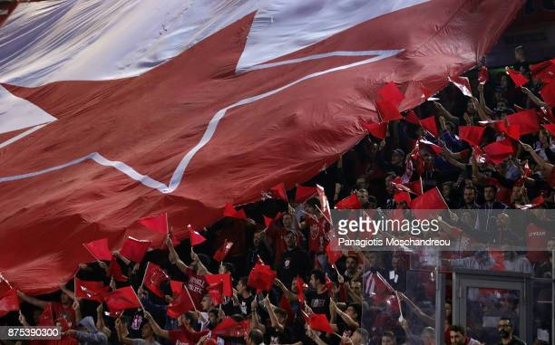 Fans of Olympiacos react during the 2017/2018 Turkish Airlines EuroLeague Regular Season Round 8 game between Olympiacos Piraeus and Crvena Zvezda...