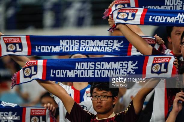 Fans of Olympique Lyonnais reacts during the 2017 International Champions Cup match between FC Internazionale and Olympique Lyonnais at Olympic...