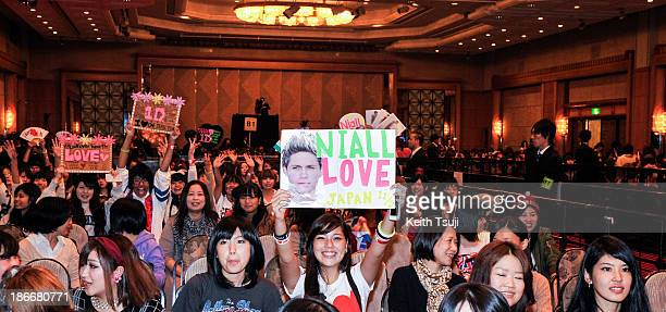 Fans of One Direction wait for their idols to come on stage to promote 'The 1Derland THIS IS US' on November 3 2013 in Chiba Japan