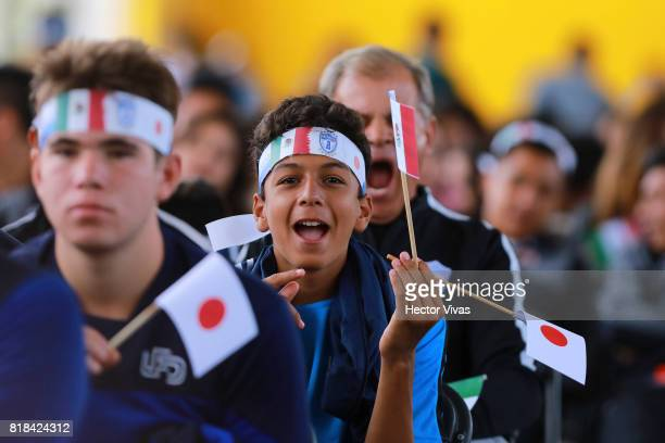 Fans of Pachuca cheer during a press conference to unveil Keisuke Honda as new player of Pachuca at Hidalgo Stadium on July 18 2017 in Pachuca Mexico