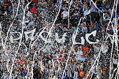 Fans of Pachuca cheer for their team during their Mexican Football League Apertura Tournament 2015 against America at the Estadio Hidalgo in Pachuca...