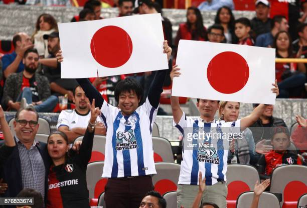 Fans of Pachuca display flags of Japan prior the 17nd round match between Atlas and Pachuca as part of the Torneo Apertura 2017 Liga MX at Jalisco...