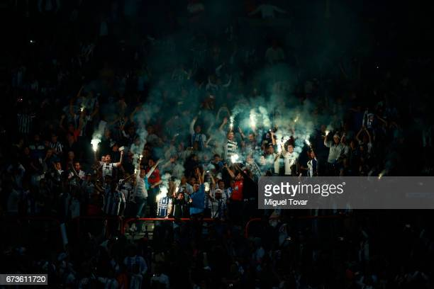 Fans of Pachuca light flares to celebrate after the Final second leg match between Pachuca and Tigres UANL as part of the CONCACAF Champions League...