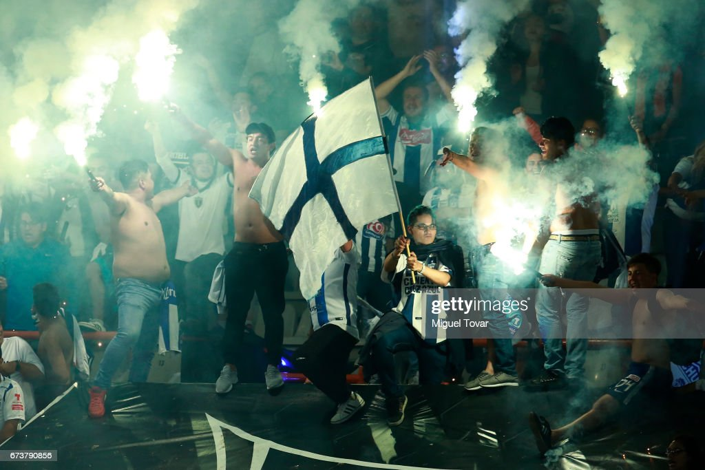 Fans of Pachuca light flares to celebrate after winning the Final second leg match between Pachuca and Tigres UANL as part of the CONCACAF Champions League 2016/17 at Hidalgo Stadium on April 26, 2017 in Monterrey, Mexico.
