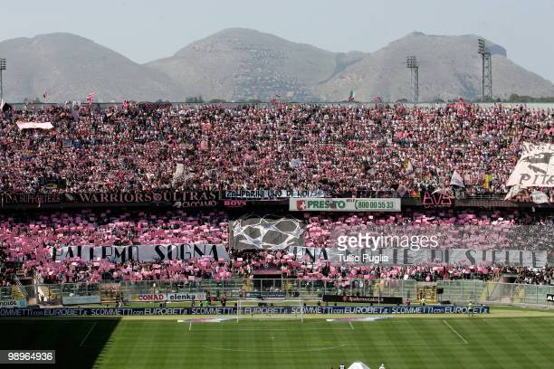 Fans of Palermo show their support before the Serie A match between US Citta di Palermo and UC Sampdoria at Stadio Renzo Barbera on May 9 2010 in...