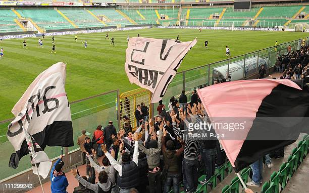 Fans of Palermo show their support during a Palermo training session at Stadio Renzo Barbera on March 31 2011 in Palermo Italy