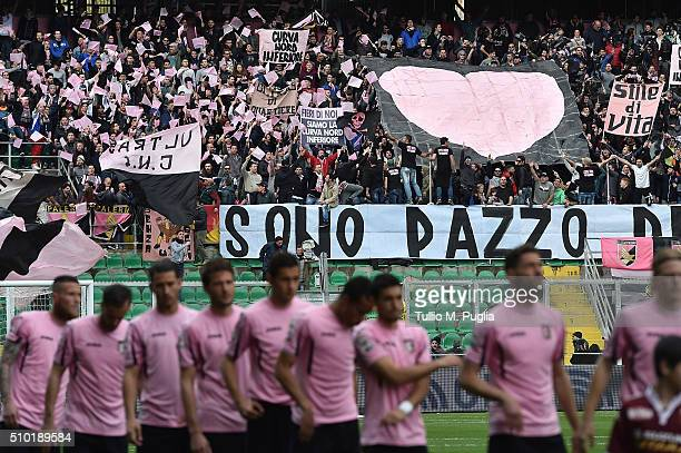 Fans of Palermo show their support during the Serie A match between US Citta di Palermo and Torino FC at Stadio Renzo Barbera on February 14 2016 in...