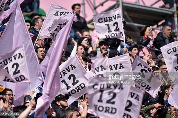 Fans of Palermo show their support during the Serie A match between US Citta di Palermo and Bologna FC at Stadio Renzo Barbera on February 28 2016 in...