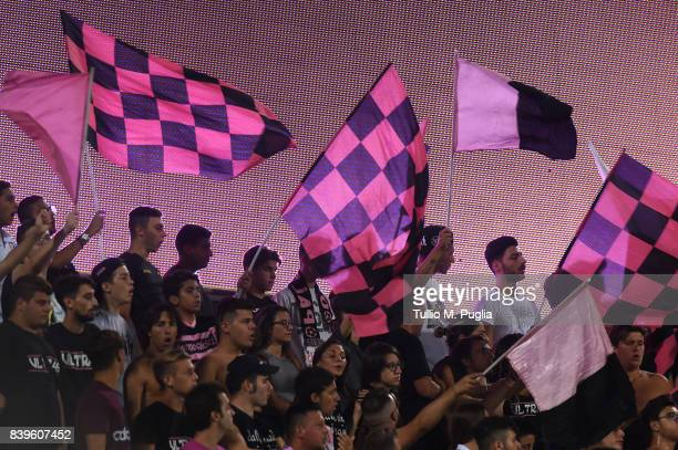 Fans of Palermo show their support during the Serie B match between US Citta di Palermo and AC Spezia at Stadio Renzo Barbera on August 26 2017 in...