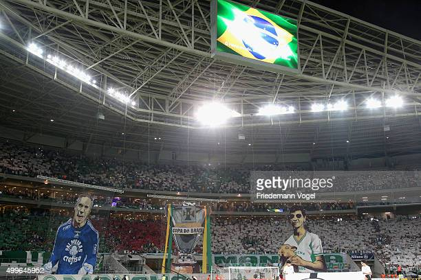 Fans of Palmeiras celebrates during the match between Palmeiras and Santos for the Copa do Brasil 2015 Final at Allianz Parque on December 2 2015 in...