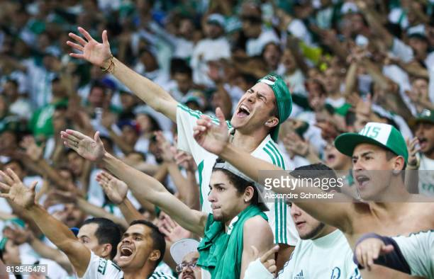 Fans of Palmeiras cheer during the match between Palmeiras and Corinthians for the Brasileirao Series A 2017 at Allianz Parque Stadium on July 12...