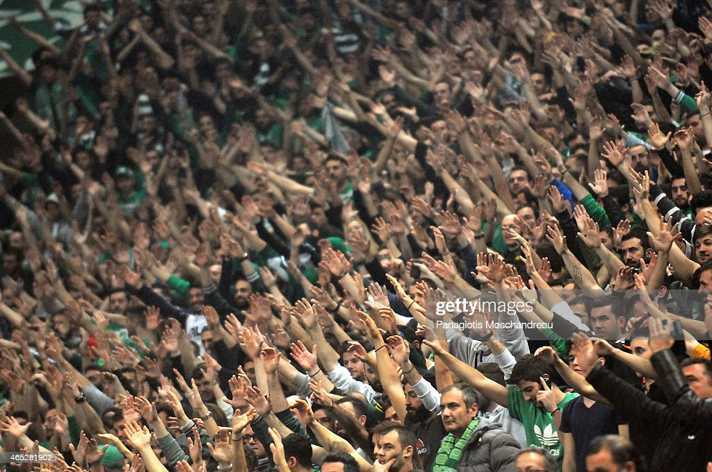 Fans of Panathinaikos react during the Turkish Airlines Euroleague Basketball Top 16 Date 9 game between Panathinaikos Athens v FC Barcelona at Olympic Sports Center Athens on March 5, 2015 in Athens, Greece.