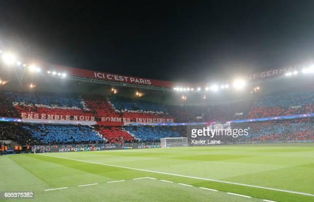 Fans of Paris SaintGermain reacts during the UEFA Champions League Round of 16 first leg match between Paris SaintGermain and FC Barcelona at Parc...