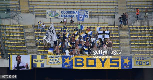 Fans of Parma Calcio during the TIM Cup match between AS Bari and Parma Calcio at Stadio San Nicola on August 6 2017 in Bari Italy