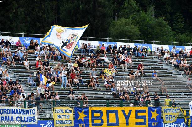 Fans of Parma Calcio waves the flags during the preseason friendly match between Parma Calcio and Dro on July 30 2017 in Pinzolo near Trento Italy