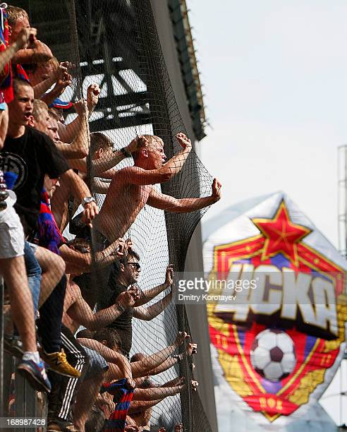 Fans of PFC CSKA Moscow celebrate winning the Russian Premier League after match between PFC CSKA Moscow and FC Kuban Krasnodar at the Arena Khimki...