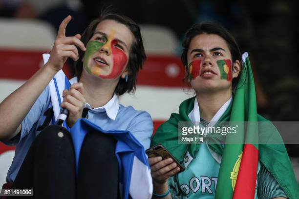 Fans of Portugal look on prior the UEFA Women's Euro 2017 Group D match between Scotland v Portugal at Sparta Stadion on July 23 2017 in Rotterdam...