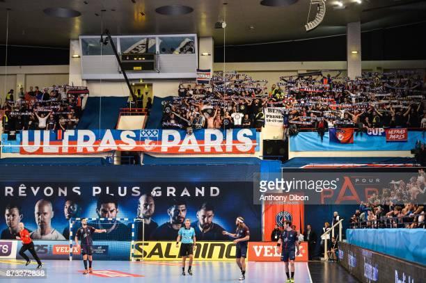 Fans of PSG during the Champions League match between Paris Saint Germain and Veszprem on November 12 2017 in Paris France