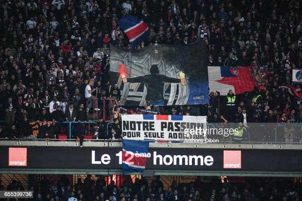 Fans of PSG during the French Ligue 1 match between Paris Saint Germain and Lyon at Parc des Princes on March 19 2017 in Paris France