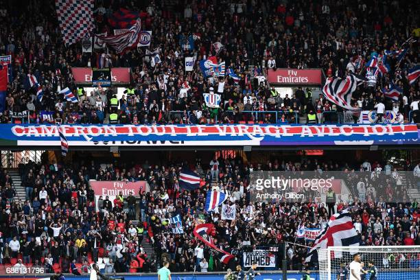 Fans of PSG during the Ligue 1 match between Paris SaintGermain and SM Caen at Parc des Princes on May 20 2017 in Paris France