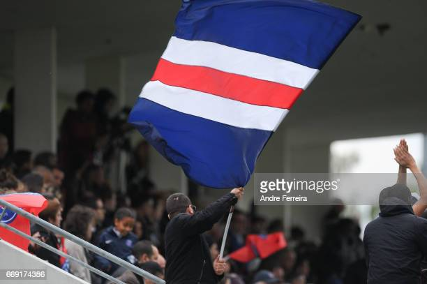 Fans of PSG during the women's National Cup match between Paris Saint Germain PSG and AS Saint Etienne at Camp des Loges on April 16 2017 in Saint...