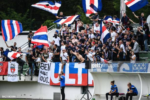 Fans of PSG members of CUP during women's Division 1 match between Paris Saint Germain PSG and Soyaux on September 3 2017 in Paris France