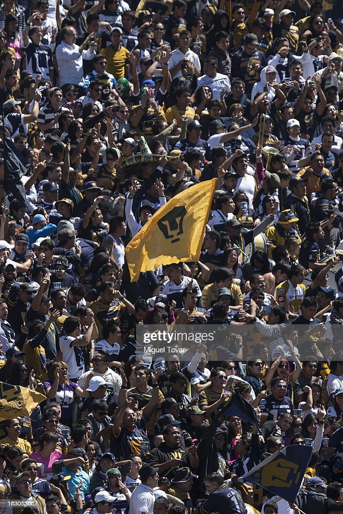 Fans of Pumas sing during a match between Pumas and Chivas as part of the Clausura 2013 at Olympic stadium on March 03, 2013 in Mexico City, Mexico.