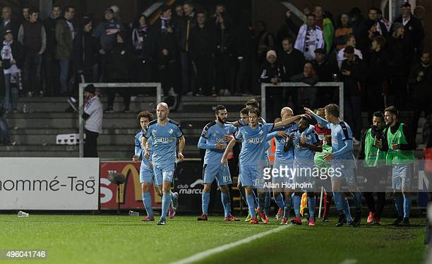 Fans of Randers FC celebrates after scoring their third goal during the Danish Alka Superliga match between Randers FC and AGF Aarhus at BioNutria...