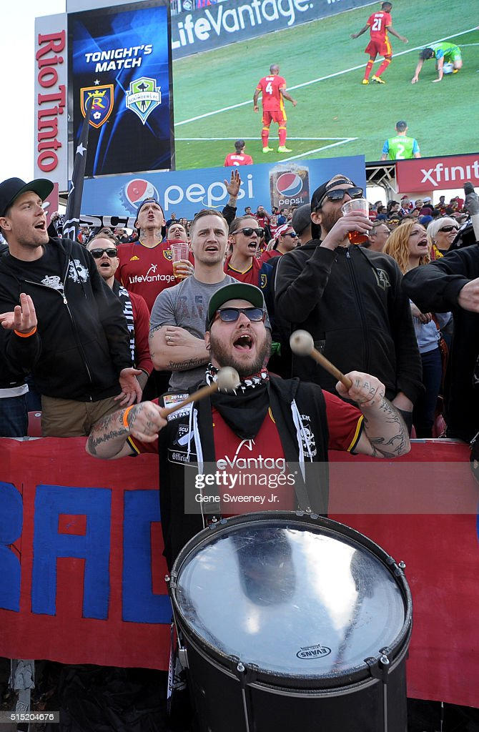 Fans of Real Salt Lake cheer the team on during the first half against Seattle Sounders FC at Rio Tinto Stadium on March 12, 2016 in Sandy, Utah.