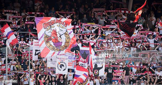 Fans of Red Bull Salzburg are seen during the tipico Bundesliga match between Red Bull Salzburg and Sturm Graz at Red Bull Arena on May 7 2016 in...