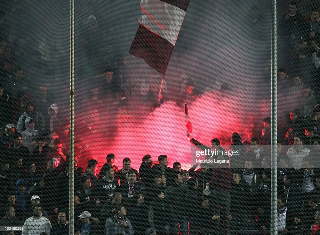 Fans of Reggina during the Serie B match between Reggina Calcio and Hellas Verona at Stadio Oreste Granillo on February 1, 2013 in Reggio Calabria, Italy.