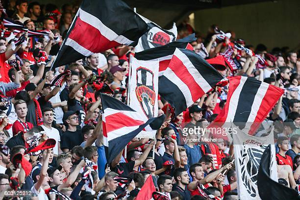 Fans of Rennes during the french Ligue 1 match between Stade Rennais and SM Caen at Stade de la Route de Lorient on September 11 2016 in Rennes France