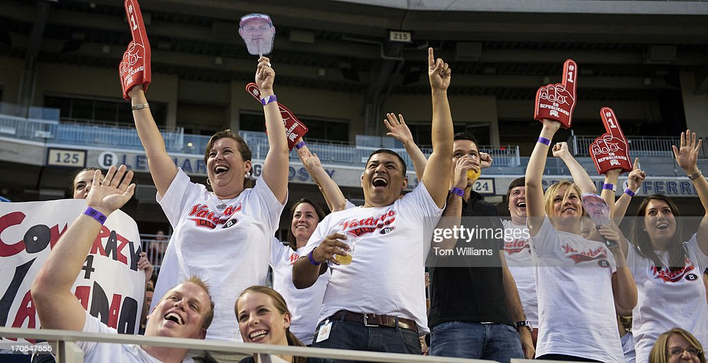 Fans of Rep. David Valadao, R-Calif., cheer during the Congressional Baseball game where the Democrats beat the Republicans 22-0 at Nationals Park.