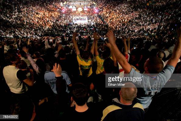 Fans of Ricky Hatton of England cheer him on before his bout against Floyd Mayweather Jr during their WBC world welterweight championship fight at...