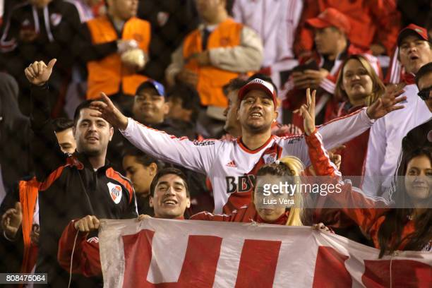 Fans of River cheer prior a first leg match between Guarani and River Plate as part of round of 16 of Copa CONMEBOL Libertadores Bridgestone 2017 at...