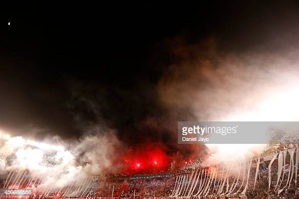 Fans of River Plate before a second leg semifinal match between River Plate and Boca Juniors as part of Copa Total Sudamericana 2014 at Monumental...