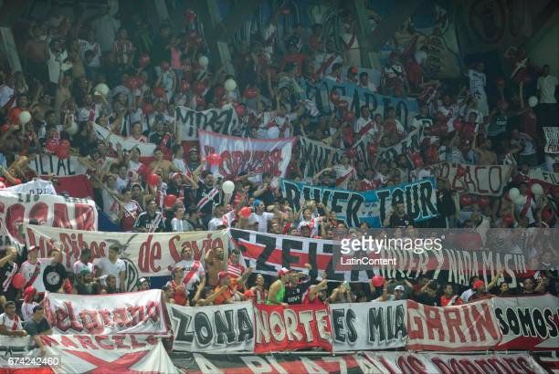 Fans of River Plate cheer during a group stage match between Emelec and River Plate as part of Copa CONMEBOL Libertadores Bridgestone 2017 at George...